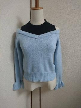 セシルマクビー☆水色×ブラック☆重ね着風☆ニット☆セーター