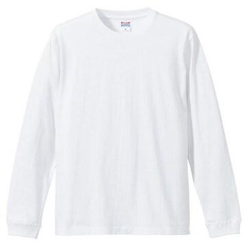 5.6オンスロングスリーブTシャツ(1.6インチリブ)ホワイトXXL