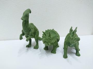 大きい恐竜(パラサウロロス、トリケラトプス、ステゴサウルス)消しゴム 緑色