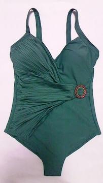 インポート〓新品〓ラインストーンバックルベルト&プリーツドレープ肩紐ワンピース水着〓緑