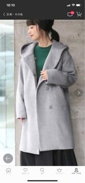 ローリーズファーム グレー フード付きコート美品 Lサイズ