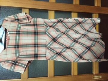 エニィスィス anySiS チェック ワンピース サーモンピンク 美品