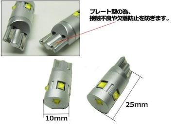 12v24v/25w級T10/プレート端子搭載/白色2個/LEDポジションランプ