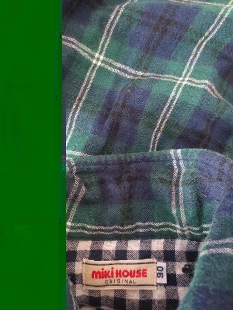 即決/miki HOUSE/タータンチェックコットン長袖シャツ/90 < ブランドの