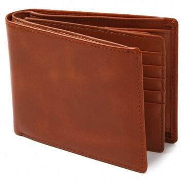 二つ折り財布 財布 本革 牛革 カード15枚収納 ブラウン