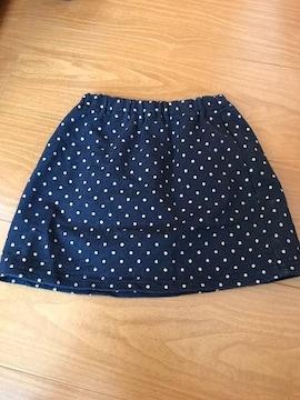 美品 無印良品 黒ドット スカート90