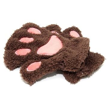 �溺 ふわふわもこもこ かわいい猫の手の手袋 /ブラウン