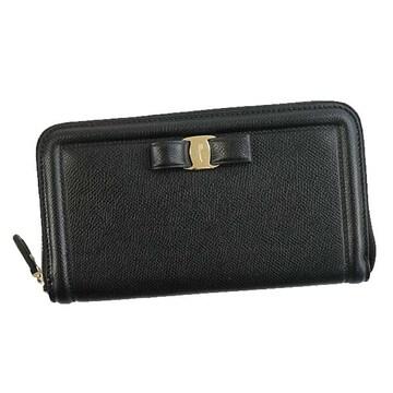 ◆新品本物◆サルヴァトーレフェラガモ ラウンドファスナー長財布(BK)『22C908』◆