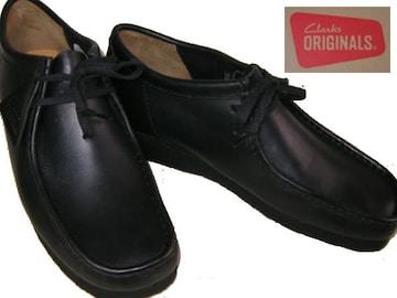 クラークス新品ワラビー ローカット ブーツ黒26103756uk8.5