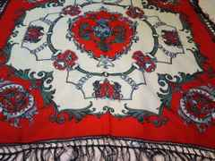 フリジン付き絹100%スカーフ