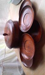 木製漆器、菓子器と茶托5枚セット