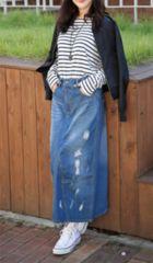 新品【6802】XXXL(大きいサイズ)ダメージ加工のロングスカート