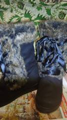 VANS バンズ 編み上げブーツブラック23センチ激カワ!リボン&ファー