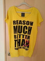 未使用*裾リブ*ロング丈半袖Tシャツ風カットソー*イエロー