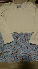 即決☆140�a黄色&下がシフォン花柄長袖Tシャツ