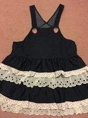 シャーリーテンプル イチゴサロペットスカート130cm紺色ピンク