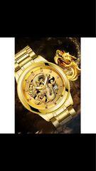 腕時計高級防水メンズゴールドドラゴン