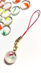 ★金魚と桜の球体レジンストラップ クリア キラキラ さくら �C