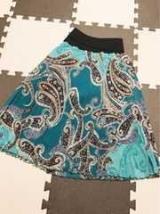 鮮やかペイズリー柄がおしゃれ可愛いウエストゴム楽ちんスカート