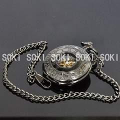手巻き式★懐中時計/黒いメンズ機械時計・スケルトン/126