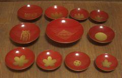 明治、大正〜木製杯11枚セット、東京都、家紋、菊御紋