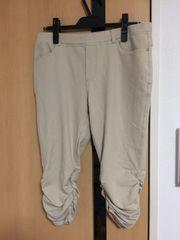 一度使用:サイズ2L:ベージュ膝丈パンツ、ウエストゴム