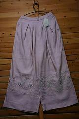 ●サマンサモスモス●リネン*レーヨン 裾刺繍パンツ 新品 ピンク