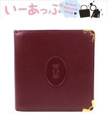 カルティエ 二つ折り財布 ボルドー 極美品 g675