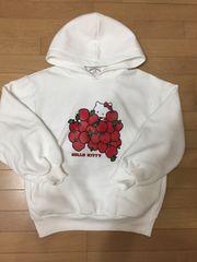 GU×HELLO KITTY ホワイト 内ボア パーカー キティちゃん&リンゴ
