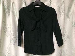 美品黒色ブラックシャツブラウスフリルボウタイリボン