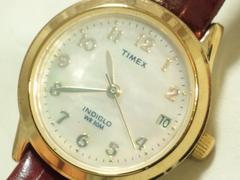 2969/TIMEXタイメックスINDIGLO高級白蝶貝ダイヤルレディース腕時計