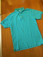 メンズL/半袖ポロシャツ/水色/ユニクロ