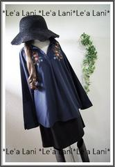 新品*刺繍ふんわりシャツプルオーバー/紺*大きいサイズ*3L