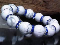ハウライト14ミリ§ブルーロンデル数珠