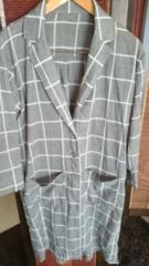 ■春物美品グレーチェック両脇ポケットロングシャツ■