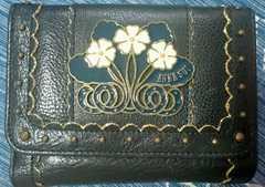 タグ付新品アナスイANNA SUIフラワープレート黒ネイビー本革がま口折財布