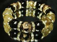 即決価格!金彫龍オニキス×ゴールドルチル数珠ブレスレット