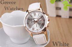 腕時計 ギリシャ文字 アナログ メンズ クォーツレザー ホワイト