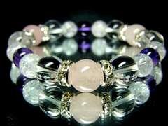 ローズクォーツ水晶10ミリ§クラック水晶紫水晶8ミリ銀ロンデル