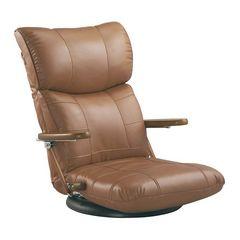 木肘スーパーソフトレザー座椅子 ブラウン YS-C1364_BR