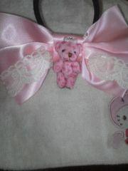 リボン 大きめ くま ヘアゴム ピンク・姫系 クマ モノグラム