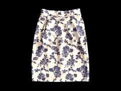 新品 scroll スクロール購入 青 花柄 タイト スカート 膝丈