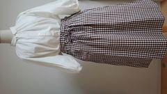 PAR ICI パーリッシィ ギンガムチェックギャザースカート ブラウン 日本製 未使用品