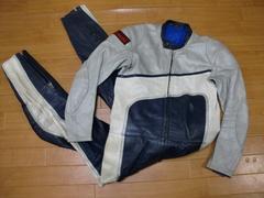 80年代 カワサキ レーシングスーツ 革ツナギ Sサイズ