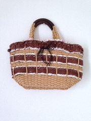 かぎ編みレース パッチワーク 巾着デザイン かごバッグ トート
