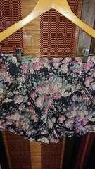 ■春物超美品Discoat黒×花柄両脇ジップポケットパンツ■