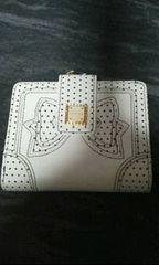 リズリサ白革製リボン柄2つ折り財布