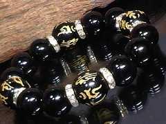 守り本尊十二支梵字オニキス16ミリ§14�_数珠