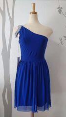 F ミニドレス ブルー ストレッチ ワンショ パール 新品 A1616