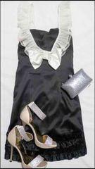 白レース黒タイトミニワンピースドレスセクシーメイド姫